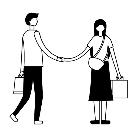couple holding hands with shopping bags vector illustration