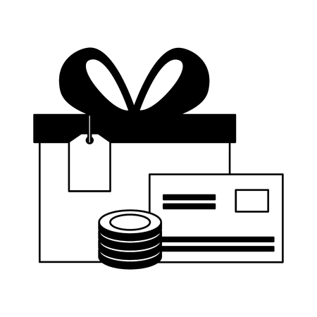 gift bank card and coin online buying ecommerce vector illustration Çizim