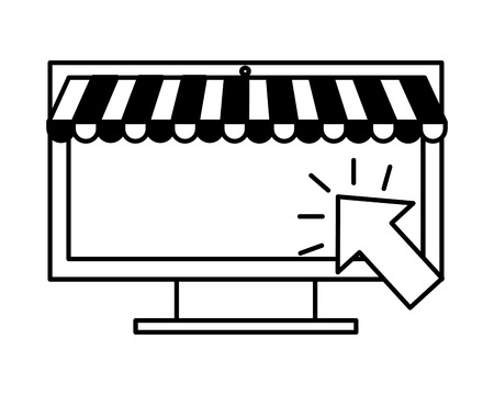 computer clicking online buying ecommerce vector illustration