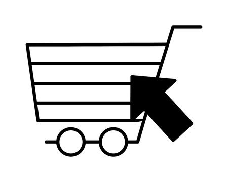shopping cart clicking online buying vector illustration