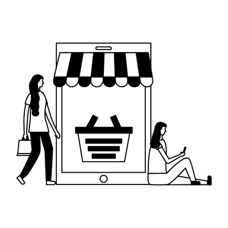 women with mobile basket online buying vector illustration Çizim
