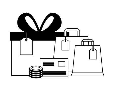 gift bags and money online buying ecommerce vector illustration