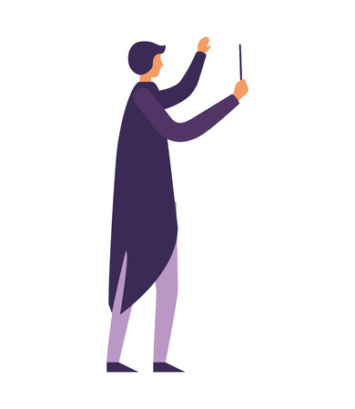 music conductor orchestra on white background vector illustration Ilustração