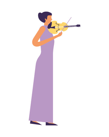 woman standing playing violin music vector illustration