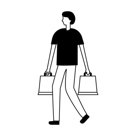man holding shopping bags online buying vector illustration Illustration