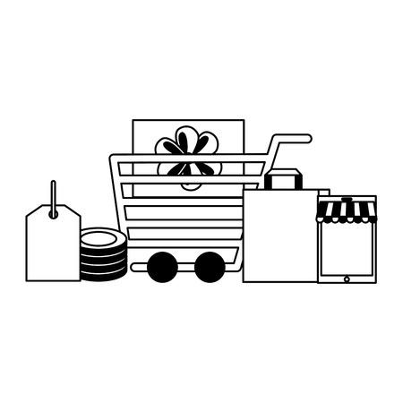 shopping cart bag gift mobile online buying ecommerce vector illustration Stock Vector - 111385870