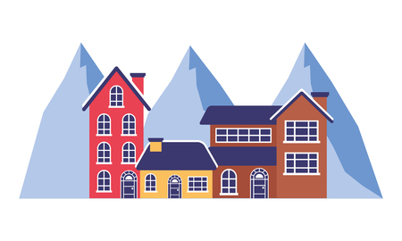 three houses and mountains landscape vector illustration Archivio Fotografico - 111385894