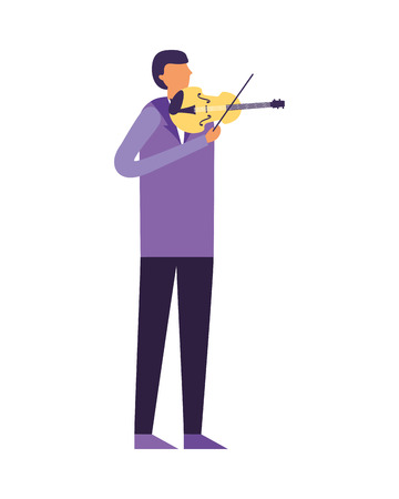 man standing playing violin music vector illustration Ilustrace