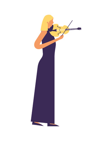 woman standing playing violin music vector illustration Stockfoto - 111385898