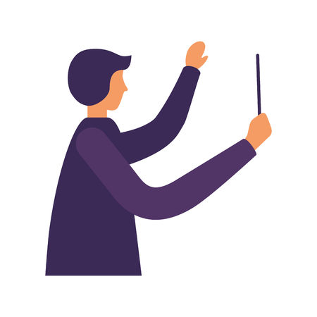 music conductor orchestra on white background vector illustration Foto de archivo - 111385928