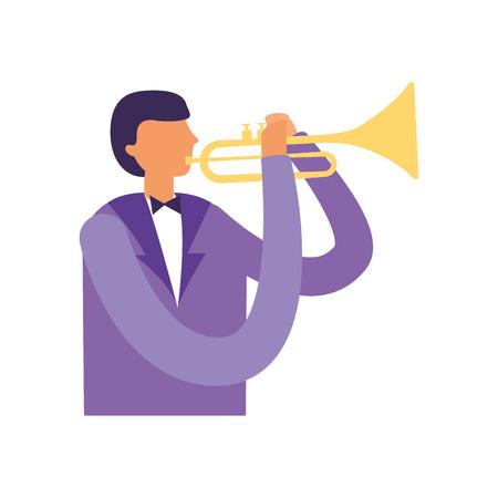 man standing playing trumpet instrument vector illustration