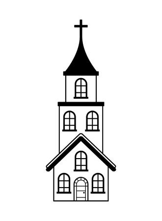 church cross building on white background vector illustration Çizim