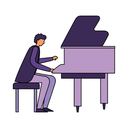 man playing classical piano instrument vector illustration Illustration
