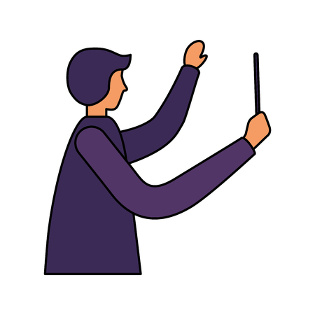 music conductor orchestra on white background vector illustration Illusztráció