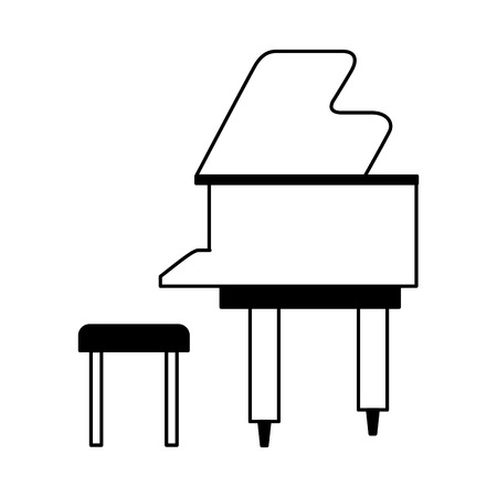 classical piano and chair on white background vector illustration
