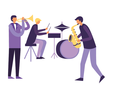 musician men orchestra drums saxophone and trumpet vector illustration