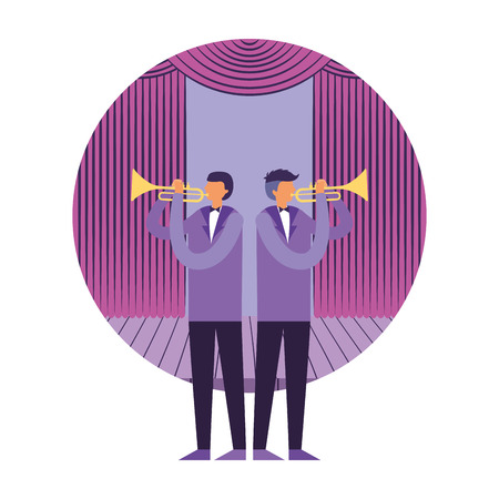 musician men with trumpet instruments on stage vector illustration