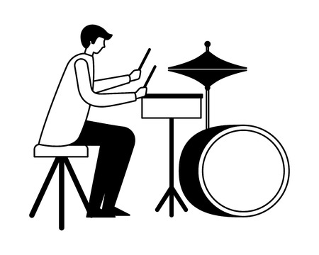 drummer musician man orchestra instrument vector illustration Stock Illustratie