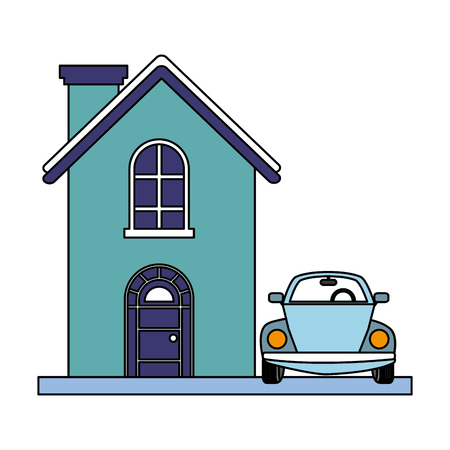 house and car on white background vector illustration Illustration