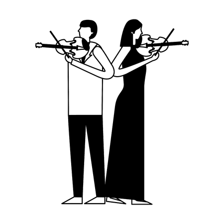 musician man and woman with violin vector illustration