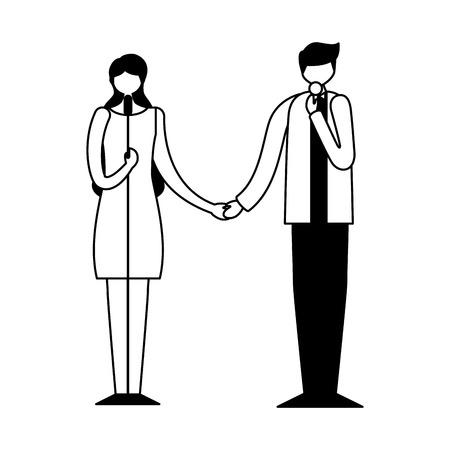 musician man and woman singers concert vector illustration Foto de archivo - 111387640