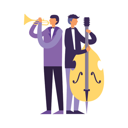 musician men with trumpet and cello vector illustration
