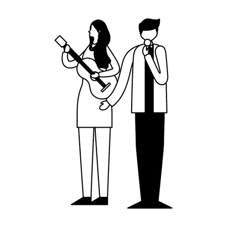 musician man singer and woman with guitar vector illustration