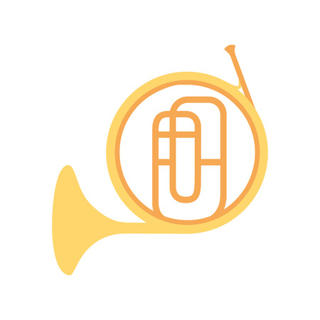french horn instrument on white background vector illustration
