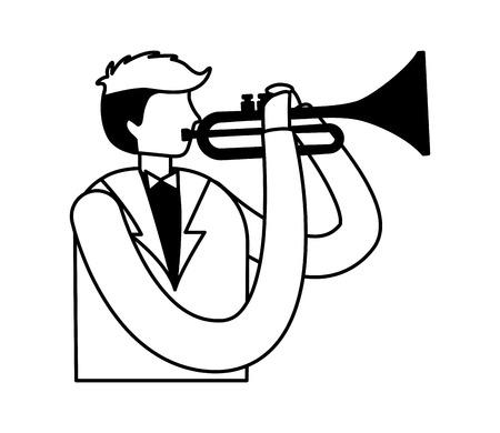 man playing trumpet jazz instrument vector illustration