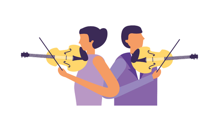 musician man and woman with violin vector illustration Stockfoto - 111388832
