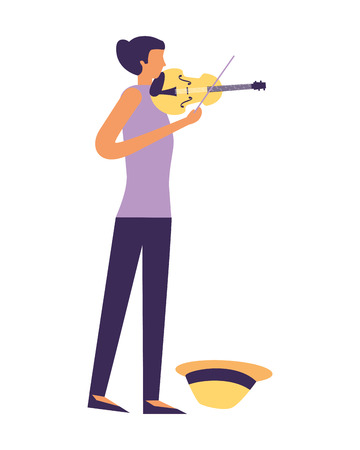 young girl musician playing violin vector illustration Ilustrace