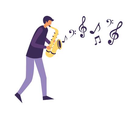 homme, à, saxophone, orchestre, instrument, vecteur, illustration