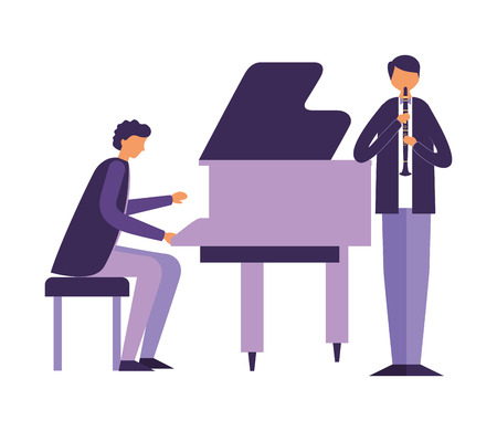 musician playing piano and man with clarinet vector illustration Standard-Bild - 111391080