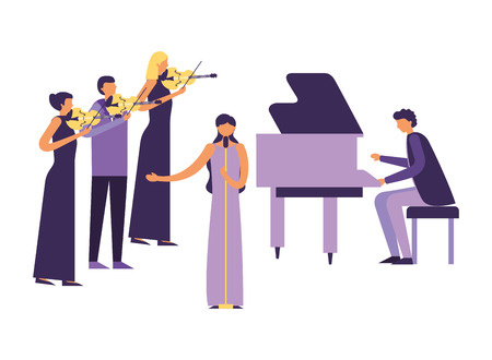 musicians concert classic people with instruments vector illustration