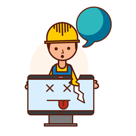 builder computer failure broken error vector illustration  イラスト・ベクター素材