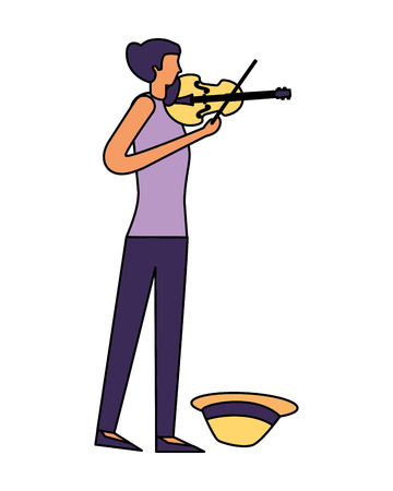 young girl musician playing violin vector illustration Stock Illustratie