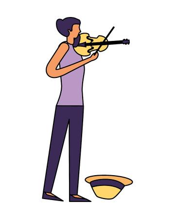 young girl musician playing violin vector illustration 向量圖像