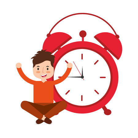boy sitting clock alarm wake up vector illustration