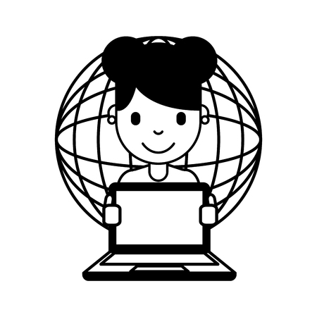 woman cartoon with laptop world connection vector illustration