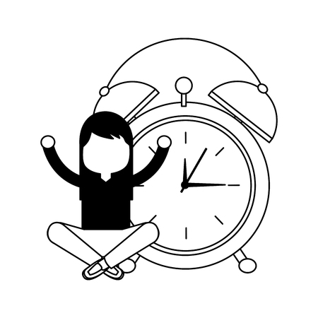 girl cartoon wake up clock alarm vector illustration