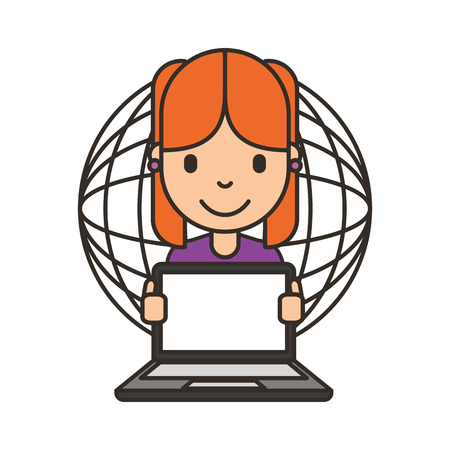 woman cartoon with laptop world vector illustration