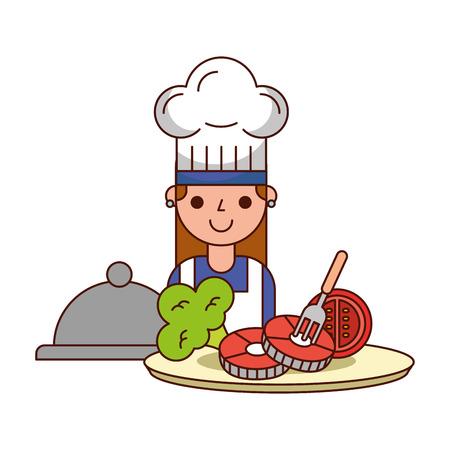 chef girl dinner pork broccoli tomato vector illustration