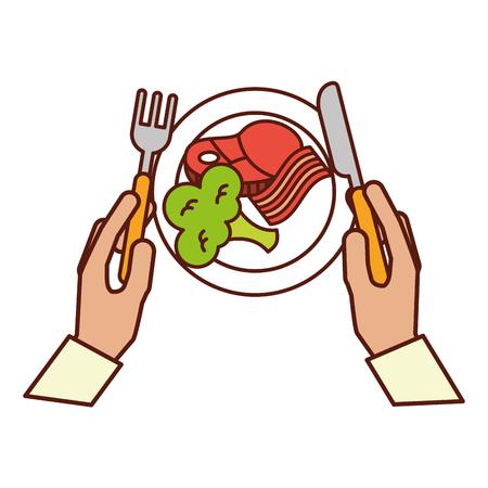manos sosteniendo tenedor cuchillo cena ilustración vectorial