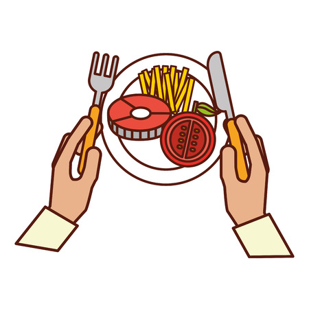 hands holding fork knife dinner vector illustration Archivio Fotografico - 111413066