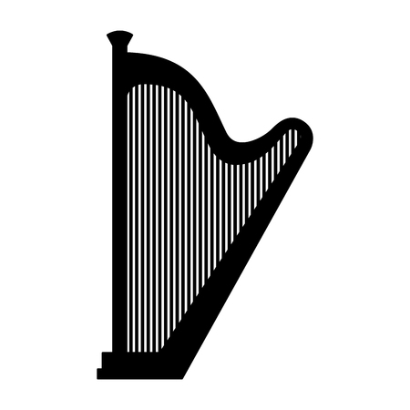 classic music instrument acoustic harp vector illustration