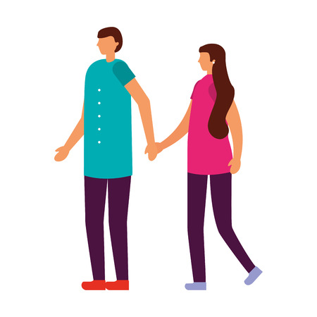 couple holding hands on white background vector illustration Stock Vector - 111391290