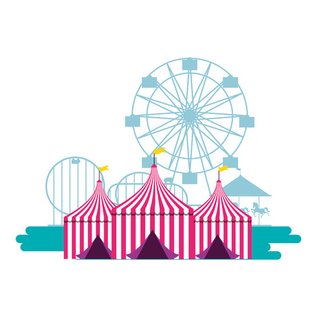 tents ferris wheel and roller coaster fun fair vector illustration