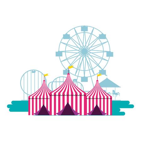 Zelte Riesenrad und Achterbahn Kirmes Vector Illustration