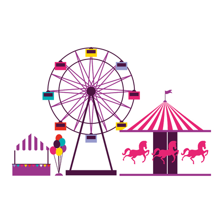 ferris wheel carousel and balloons booth fun fair carnival vector illustration Ilustração