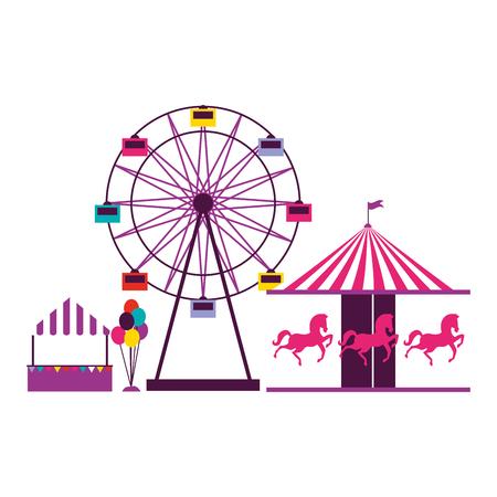 noria carrusel y globos stand feria de diversión carnaval ilustración vectorial